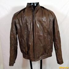 REMY Vintage USA made Soft LEATHER JACKET Mens Size 42 Large Brown zippered