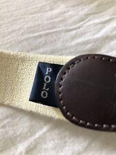 Vintage Polo Ralph Lauren Cotton Leather Webbed Belt Yellow Size 40 1990s 1998