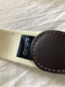 Vintage Polo Ralph Lauren Cotton Leather Webbed Belt Yellow Size 40 1990s 1998