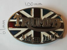"TRIUMPH MOTORCYCLES ""A BREED APART"" ENAMELLED  BELT BUCKLE - TAKES 4CM BELT"