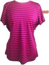 Lands' End Athletic Sport Top Women's Large Stripe Red Purple Stretch SS