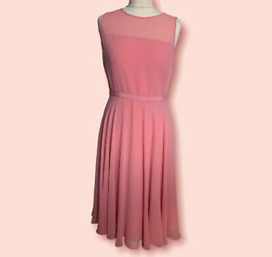Hobbs occasion fit & flare with bow details ASHLING DRESS pink UK size 10 Party