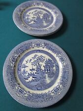 Vintage EIT English Ironstone Tableware 3 DINNER Plates England Blue Willow