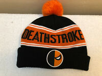 DC COMICS Deathstroke BLACK AND ORANGE Knit Winter BEANIE HAT CAP