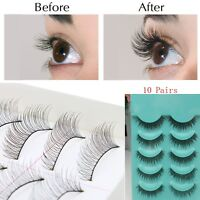 10Pairs Makeup Handmade Natural Fashion Long False Eyelashes Eye Lashes New