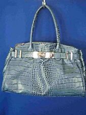 "PEDRO ROGADO SPAIN ""ELOS"" Croc Embossed Aqua Leather NEW Large Tote"