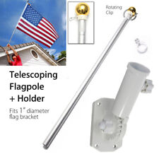 5FT Aluminum Telescoping American USA Flag Pole Flagpole + Screws Holder Set ❤