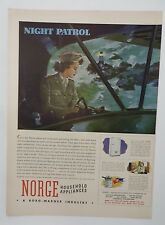 Original Print Ad 1943 NORGE Household Appliances Night Patrol Borg-Warner