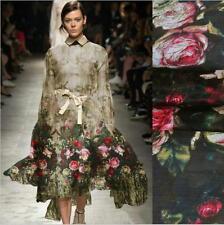 rose printed 100% pure mulberry silk chiffon fabric for silk dress