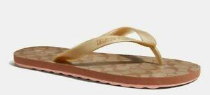 New COACH Womens Zak Flip Flop Gold Signature Rubber Slides FG3434 NWT US Size 9