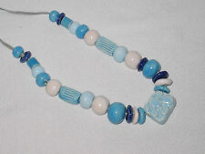 CERAMIC BEAD NECKLACE FROM RUSSIA MID 1980s NEW WITH TAG STRUNG ON LEATHER
