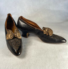 Rare Antique Lord & Taylor 1890-1910s Brown Leather Heels Beaded Bows Edwardian