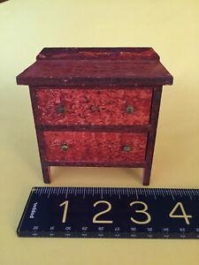 Doll House MINIATURE antique tall dresser w/original F.A.O Schwarz label