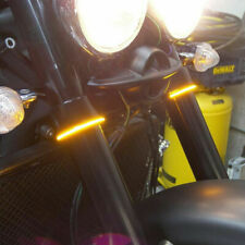 2x Yellow Amber 24-Smd Led Fork Motorcycle Turn Signal Easy Clips Strip Lights (Fits: Bourget's Bike Works)