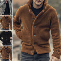 Mens Fluffy Coat Fleece Jackets Teddy Bear Winter Warm Outerwear Coat Jacket UK