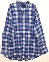 Polo Ralph Lauren Big and Tall Mens Royal Blue Plaid Button-Front Shirt NWT 3XLT