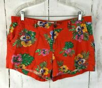 Womens OLD NAVY Linen Floral Shorts 12 Tropical Red