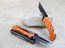 """8"""" Orange EMT EMS Spring Assisted Opening Tactical Rescue Folding Pocket Knife"""