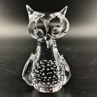 Crystal Glass Owl Paperweight Clear Controlled Bubbles Art Glass Desk Decor