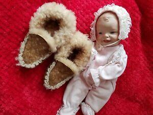 Sheepskin Baby Moccasin Slippers Luxury Wool & suede.*vintage unworn*👶