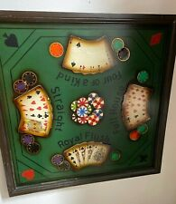 VTG Poker Table  Hand Straight's Wooden Wall Hanging  MAN CAVE RARE