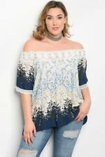 NEW..Lovely Plus Size Navy & Ivory Floral Print Off the Shoulder Top.Sz18/2XL