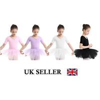 UK Girl Kid Ballet Dance Dress Sleeved Leotard Skirt Ballerina Costume Dancewear
