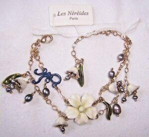 LES NEREIDES ENAMELED CREAMY WHITE FLOWER,BELL FLOWERS W/ NAVY BOW BRACELET NWT