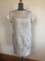 Original vintage retro 1960's pattern cream shimmer gold lurex thread dress 10