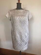 Original vintage retro 1960's pattern cream shimmer gold lurex thread dress 10