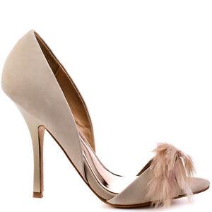 NIB Badgley Mischka Gisella d'orsay open toe feather pump heel shoes Vanilla 5,5