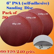"30x 6"" PSA Self Adhesive 60/120/240 Grit Sanding Disc Stick On Sandpaper Peel"