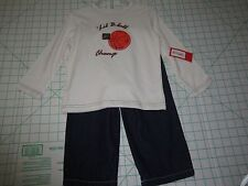 'LIL B-ball Champ   2pc Long Sleeve Tee & Blue Jean Pants SIZE 24M   New