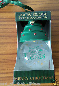 PERSONALIZED CHRISTMAS HANGING SNOW GLOBE, : GREEN TREE HAT - DANIELLE