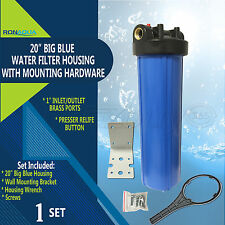 "20"" Big Blue Housing for Whole House Water Filtration System, 1"" Brass Port"