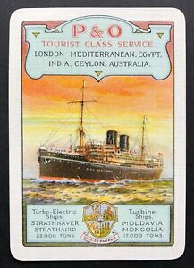 Vintage Wide Swap/Playing Card - ADVERTISING - P & O - TOURIST CLASS SERVICE