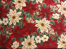 Christmas Cotton Fabric 2 pcs - Red with Poinsettia -matching border 3 1/4yds