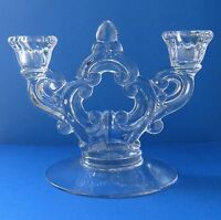 Vintage Cambridge Glass Clear Keyhole Double Candle Holder