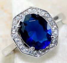 4CT Blue Sapphire & White Topaz 925 Solid Sterling Silver Ring Jewelry Sz 7