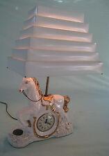 Vtg 50s White Western Horse Lamp w/ Clock Venetian Blind Shade Berkeley Pottery