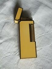 VINTAGE 1970's DUNHILL YELLOW ENAMEL AND BRASS ROLLAGAS LIGHTER