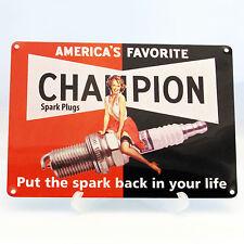 CHAMPION SPARK PLUGS Print On Metal Sign Garage Den Workshop Shed Door Pin up