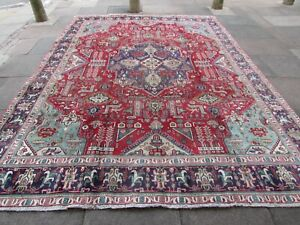 Vintage Worn Hand Made Traditional Oriental Wool Red Large Carpet 377x282cm