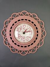 VTG 1974 Burwood New Haven PINK Wall Clock Works Great Made in USA JAPAN Quartz