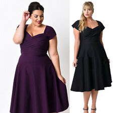 Plus Size Housewife 50s Ladies Short Sleeve Evening Party Swing Wear Long Dress