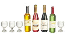 Dolls House Miniature 1:12th Scale Wine Bottles With Glasses.