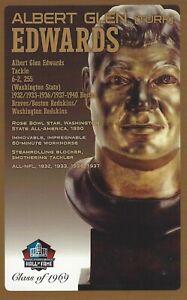 Albert Glen ( Turk ) Edwards Washington Redskins Football Hall of Fame Bust Card