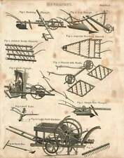 1802  Husbandry Cook's Drill Machine Single Hoe Plough Jointed Break Harrow Shaf