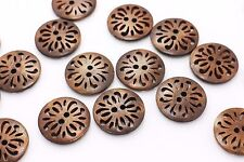 Dark Brown Flower Wooden Button Floral Filigree Two Holes Large 25mm 3pcs