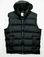 Gap Mens Black Down Puffer Vest Jacket Medium Hooded Warmest Insulation Full Zip